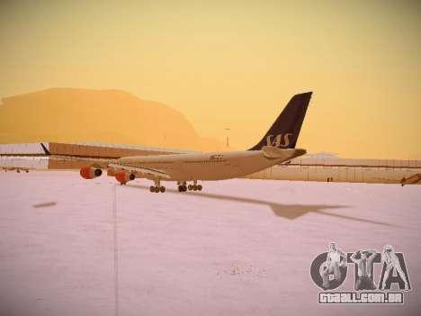 Airbus A340-300 Scandinavian Airlines para GTA San Andreas traseira esquerda vista