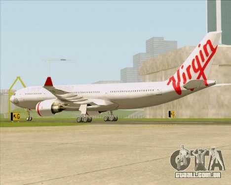 Airbus A330-200 Virgin Australia para GTA San Andreas traseira esquerda vista