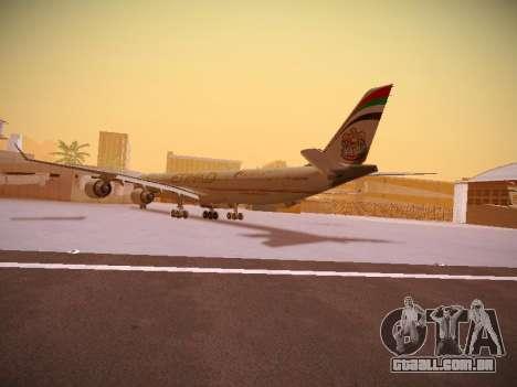 Airbus A340-600 Etihad Airways para GTA San Andreas traseira esquerda vista