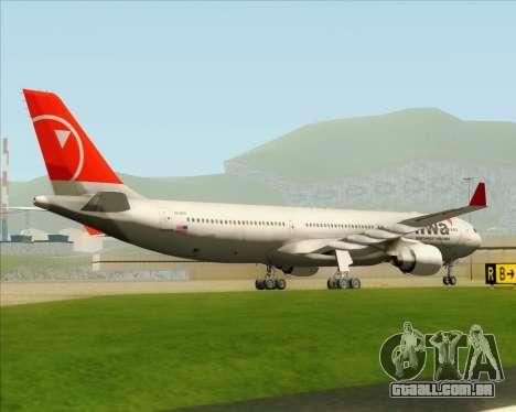 Airbus A330-300 Northwest Airlines para GTA San Andreas vista traseira