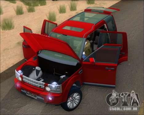 Land Rover Discovery 4 para GTA San Andreas vista interior