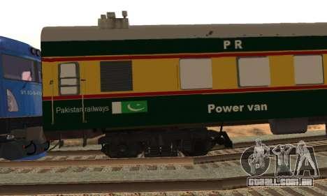 Pakistan Railways Train para GTA San Andreas vista traseira