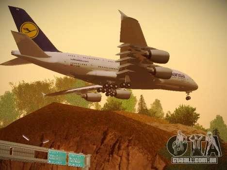 Airbus A380-800 Lufthansa para GTA San Andreas vista traseira