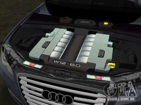 Audi A8 2010 W12 Rim6 para GTA Vice City vista superior