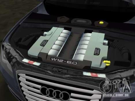 Audi A8 2010 W12 Rim6 para GTA Vice City vista superior