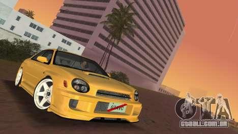 Subaru Impreza WRX 2002 Type 5 para GTA Vice City vista traseira