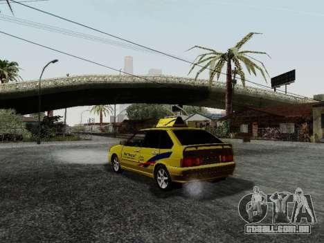 VAZ 2114 TMK afterburner para GTA San Andreas traseira esquerda vista