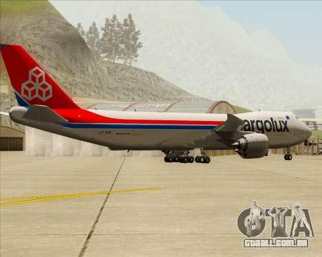 Boeing 747-8 Cargo Cargolux para GTA San Andreas vista direita