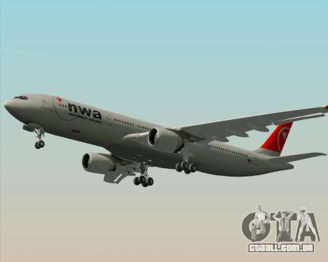 Airbus A330-300 Northwest Airlines para o motor de GTA San Andreas