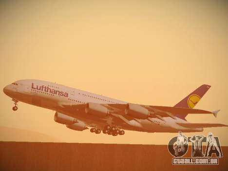 Airbus A380-800 Lufthansa para GTA San Andreas vista superior