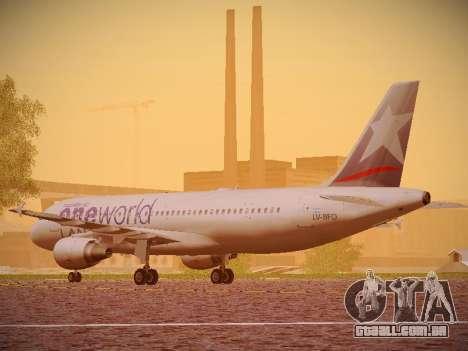 Airbus A320-214 LAN Oneworld para GTA San Andreas traseira esquerda vista