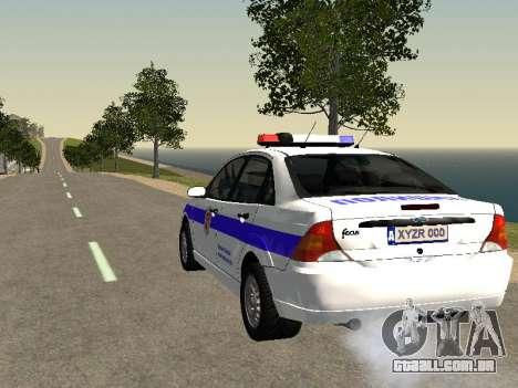 Ford Focus Polícia Nizhny Novgorod região para GTA San Andreas traseira esquerda vista
