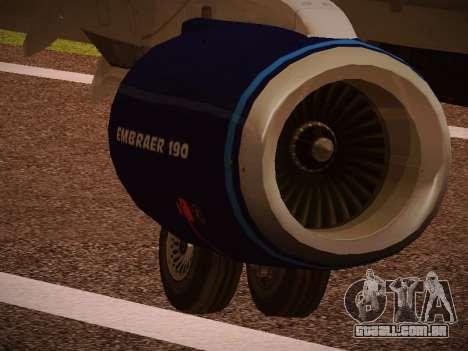 Embraer E190 Azul Tudo Azul para GTA San Andreas vista superior