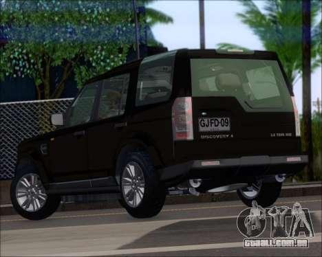 Land Rover Discovery 4 para GTA San Andreas traseira esquerda vista