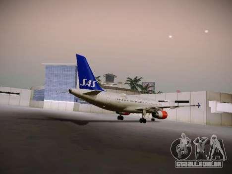 Airbus A319-132 Scandinavian Airlines para GTA San Andreas vista traseira