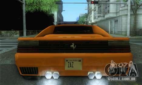 Cheetah Testarossa para GTA San Andreas traseira esquerda vista