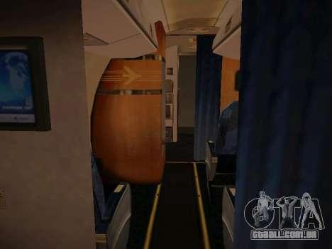 Embraer E190 Azul Tudo Azul para GTA San Andreas vista interior
