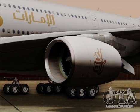 Airbus A380-841 Emirates para vista lateral GTA San Andreas