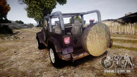 Jeep Wrangler Unlimited Rubicon para GTA 4 traseira esquerda vista