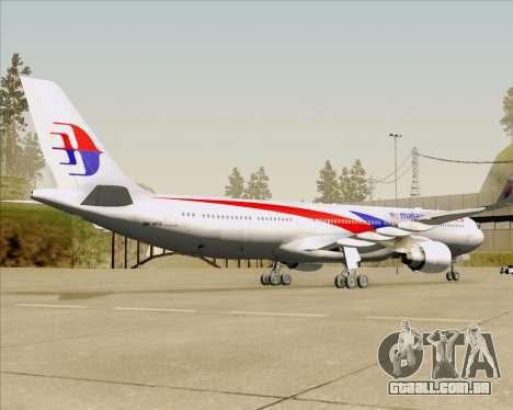 Airbus A330-323 Malaysia Airlines para GTA San Andreas vista traseira