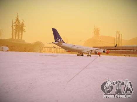 Airbus A340-300 Scandinavian Airlines para GTA San Andreas vista traseira