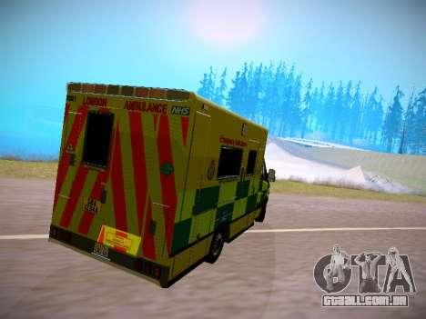 Mercedes-Benz Sprinter London Ambulance para GTA San Andreas traseira esquerda vista