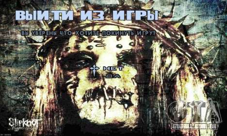 Metal Menu - Slipknot para GTA San Andreas por diante tela