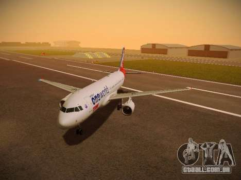 Airbus A320-214 TAM Oneworld para GTA San Andreas esquerda vista