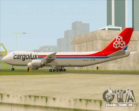 Boeing 747-8 Cargo Cargolux para GTA San Andreas traseira esquerda vista