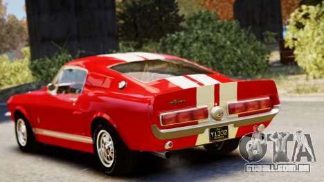 Shelby Cobra GT500 1967 para GTA 4 vista de volta