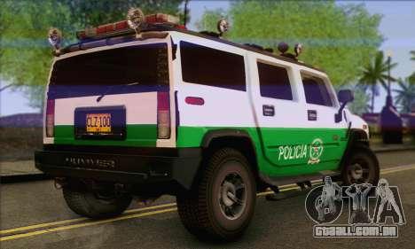 Hummer H2 Colombian Police para GTA San Andreas esquerda vista