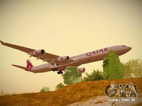 Airbus A340-600 Qatar Airways para GTA San Andreas esquerda vista