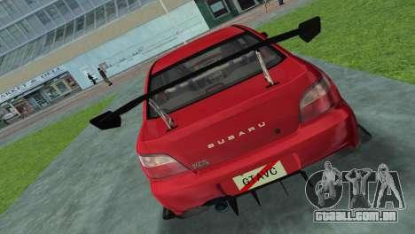 Subaru Impreza WRX 2002 Type 4 para GTA Vice City vista traseira esquerda