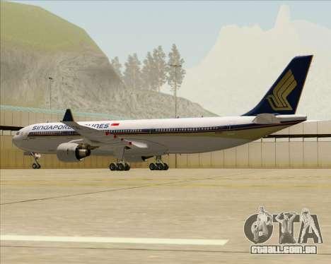 Airbus A330-300 Singapore Airlines para GTA San Andreas vista traseira