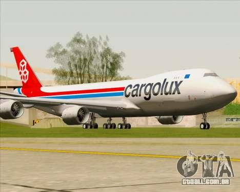 Boeing 747-8 Cargo Cargolux para GTA San Andreas esquerda vista