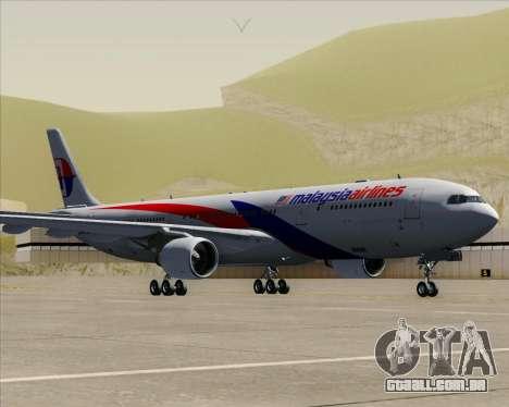 Airbus A330-323 Malaysia Airlines para GTA San Andreas traseira esquerda vista