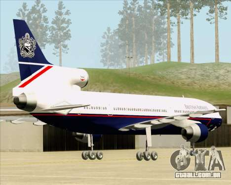 Lockheed L-1011 TriStar British Airways para GTA San Andreas traseira esquerda vista