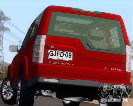 Land Rover Discovery 4 para GTA San Andreas vista inferior