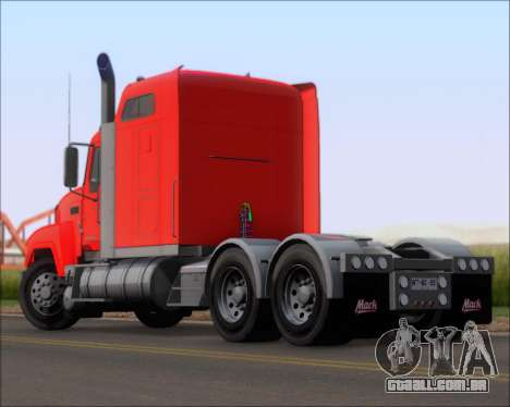Mack Pinnacle 2006 para GTA San Andreas traseira esquerda vista