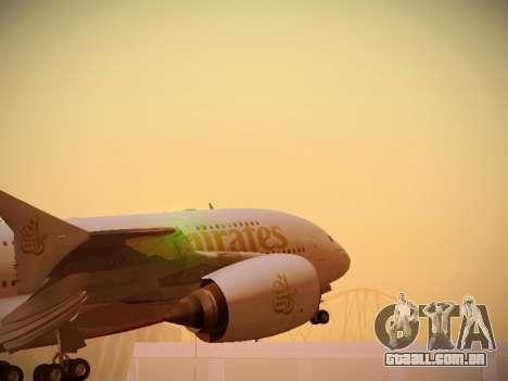 Airbus A380-800 Emirates para GTA San Andreas vista traseira