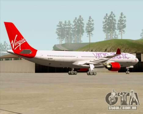Airbus A330-300 Virgin Atlantic Airways para GTA San Andreas vista traseira