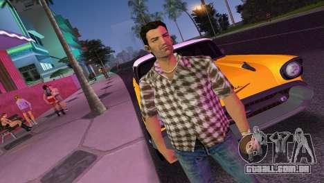 Kockas polo - barna T-Shirt para GTA Vice City segunda tela