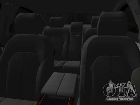 Audi A8 2010 W12 Rim6 para GTA Vice City vista interior