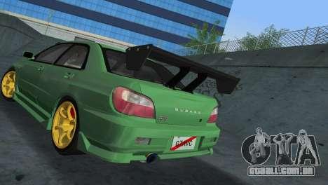 Subaru Impreza WRX 2002 Type 3 para GTA Vice City vista traseira