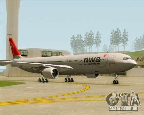 Airbus A330-300 Northwest Airlines para GTA San Andreas vista direita