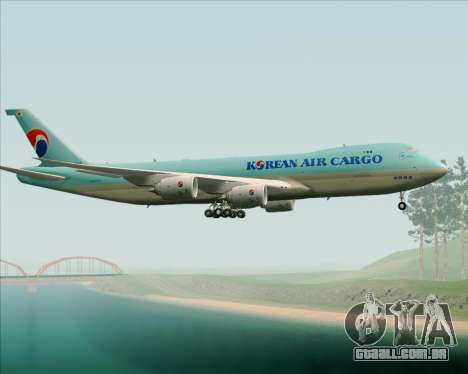 Boeing 747-8 Cargo Korean Air Cargo para vista lateral GTA San Andreas
