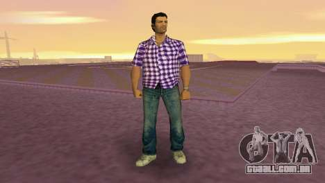 Kockas polo - lila T-Shirt para GTA Vice City segunda tela