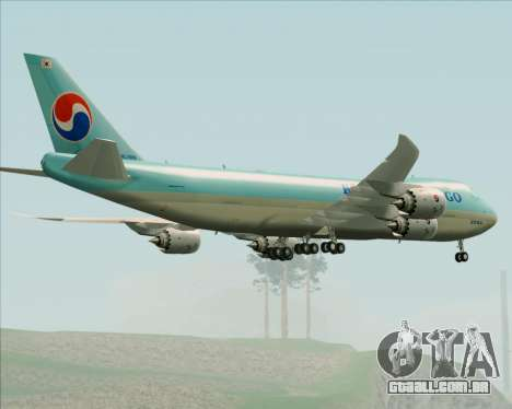 Boeing 747-8 Cargo Korean Air Cargo para GTA San Andreas vista inferior