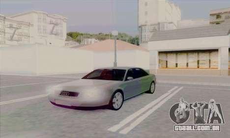 Audi A8 para GTA San Andreas traseira esquerda vista