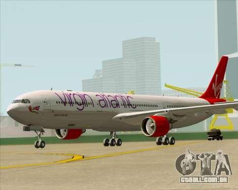 Airbus A330-300 Virgin Atlantic Airways para GTA San Andreas traseira esquerda vista